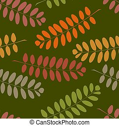 Vegetable seamless pattern with autumnal acacia branches -...