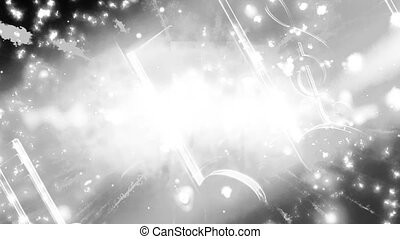 Music abstract black and white animated CG classic look...