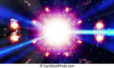 Cosmic particles and light rays geometric abstract looping...