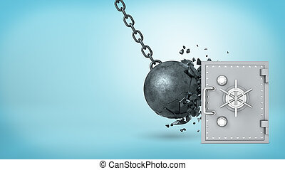 3d rendering of a large wrecking ball hitting a silver...