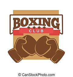 Boxing club logo label with two brown gloves
