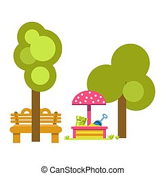 Sandbox for children near green trees and wooden bench -...