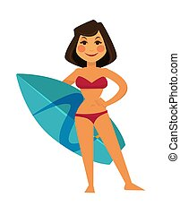 Tanned woman in maroon swimsuit and blue surfboard - Tanned...