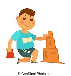 Cartoon little boy builds sand castle isolated illustration...