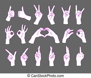 Gesture set. Female hands showing different signs. Vector illustration.