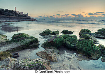 Tel Aviv at sunset - view of the old port in Tel Aviv at...