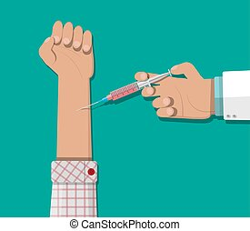 Doctor hand with syringe, vaccination of patient. - Doctor...