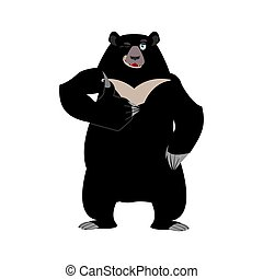 Himalayan bear thumbs up and winks. Cheerful wild animal...