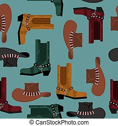 Cowboy pattern. Australian hat and crocodile leather boots. Western clothing and rodeo shoes background