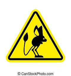 Attention Jerboa. Caution Steppe animal. Yellow triangle...
