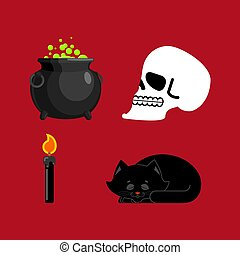 Witch set magical pot and skull, Black cat and candle for...