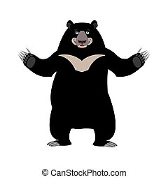 Himalayan bear happy emotion. Merry wild animal emoji. Black...