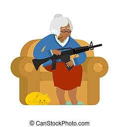 African American Grandmother with gun. old woman in an armchair with tommy gun and cat. grandma with rifle. Protection of pensioners