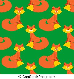 fox pattern. Cute wild animal background. Beast Texture for childrens cloth