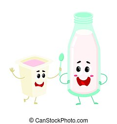 Funny milk bottle, yogurt cup characters with smiling human faces