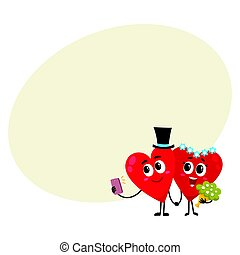 Two hearts, bride and groom, holding hands, making selfie, wedding