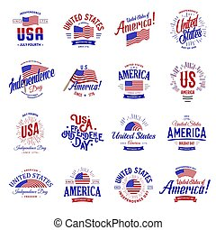 United States of North America Vector Logos Vintage set. Independence day national holiday icons collection Blue and red colors USA windy flags. Retro style lettering.