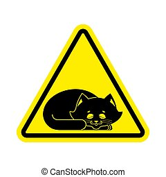 Attention Sleeping cat. Caution pet. yellow triangle road...