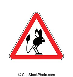 Attention Jerboa. Caution Steppe animal. Red triangle road...