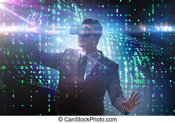 Businessman in virtual reality trading on stock market