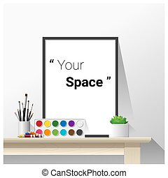 Interior poster mock up with empty frame and art supplies ,...