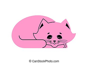 Sleeping cat pink isolated. kitten be asleep. sleep pet