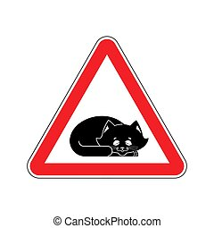 Attention Sleeping cat. Caution pet. Red triangle road sign