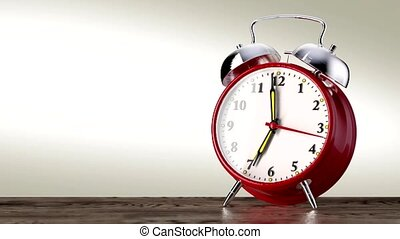 vintage red alarm clock on white background. Time concept....