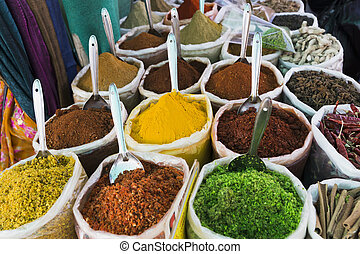Spices on the market for cooking