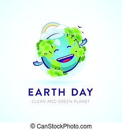 Cute happy Earth character for an environmental cause