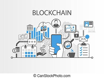 Blockchain vector background illustration with hand holding smartphone and icons