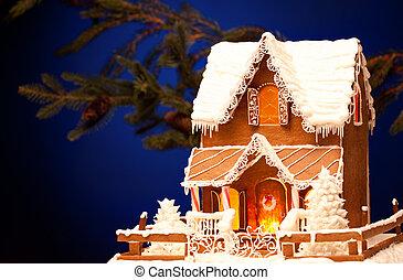Lebkuchen, aus, Weihnachten, hintergrund, haus