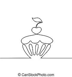 Cup cake with cherry. Continuous line drawing design vector.