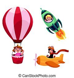 Kids, children flying in aircrafts - plane, rocket, hot air...
