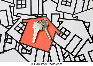 Real Estate Concept - Key and a home sign, Real Estate...