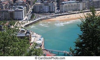Beach in San Sebastian, Spain - Aerial view over a beautiful...