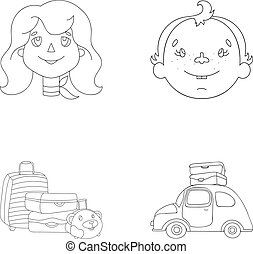 Camping, woman, boy, bag .Family holiday set collection icons in outline style vector symbol stock illustration web.