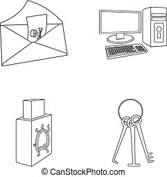 Virus, monitor, display, screen .Hackers and hacking set collection icons in outline style vector symbol stock illustration web.
