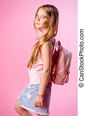 girl with pink backpack