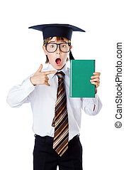 the bestseller book - Surprised student boy in glasses and...