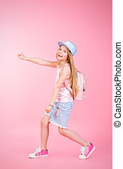 lively pre-teen girl - Children's fashion. Cute eight year...