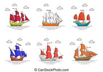 Set of color ships with sails in the sea for trip, tourism, travel agency, hotels, vacation card
