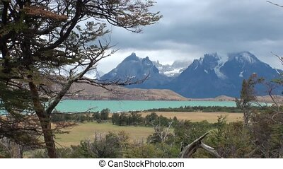 Mountain lake in Patagonia Argentina. Unique landscape of...