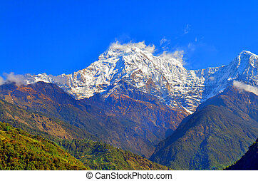 Mountain Landscape in Himalaya. Annapurna South peak, Nepal, view from Landruk.