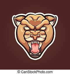 Mountain lion mascot. Vector clip art illustration with...