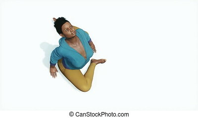 Curvy african woman pigeon pose yoga top view 4K - Young...