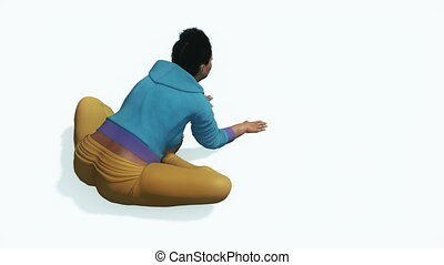 Curvy african woman doing stretching yoga pose - Young...