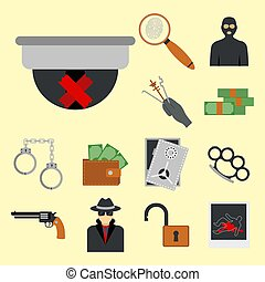 Crime icons protection law justice sign security police gun...