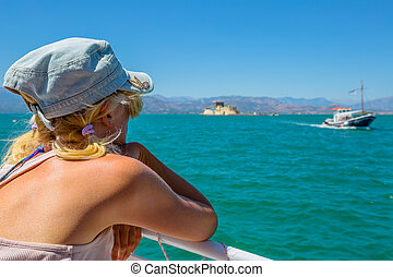 Woman Boat Trip - Caucasian female on boat looking to...