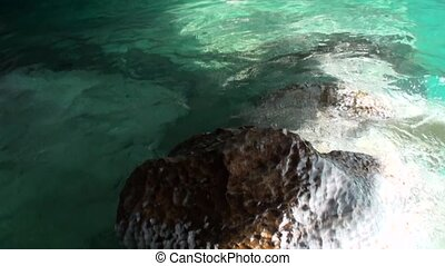 Clean clear water in Cave General Carrera in mountain in...